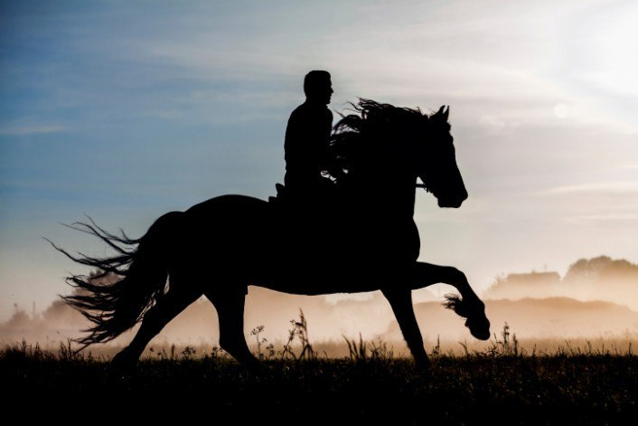 Horse rider at sunset
